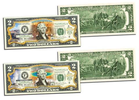 "$2/""YELLOWSTONE NATIONAL PARK /"" 2 dollar  LEGAL TENDER COLORIZED $2 GIFT MONEY"