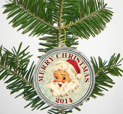 merry christmas santa claus 2014 jfk kennedy colorized half dollar us coin in ornament capsule