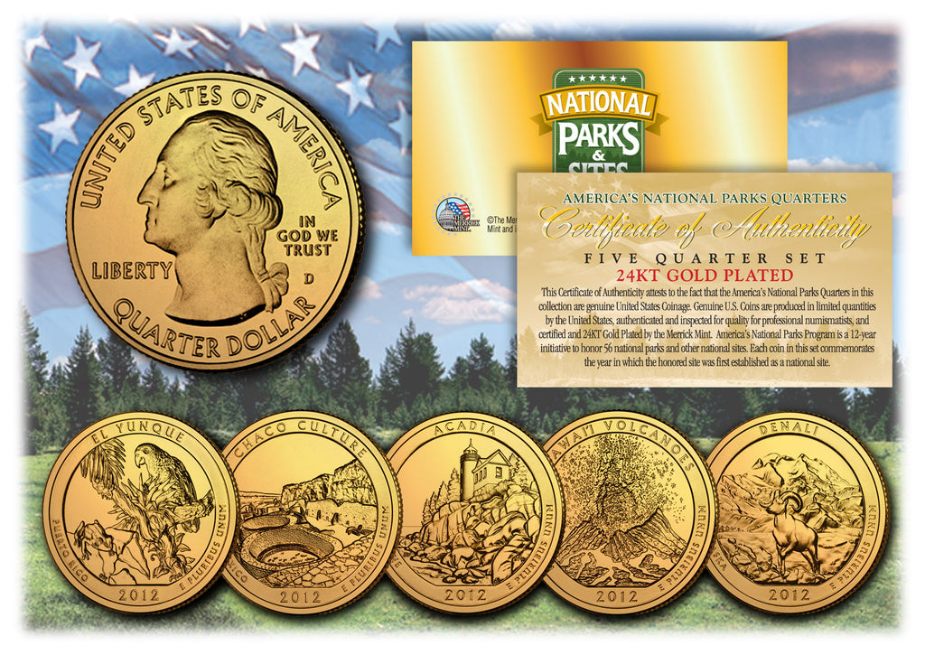 2012 America The Beautiful 24K GOLD PLATED Quarters U.S. Parks 5-Coin Set with Capsules ... & 2012 America The Beautiful 24K GOLD PLATED Quarters U.S. Parks 5 ...