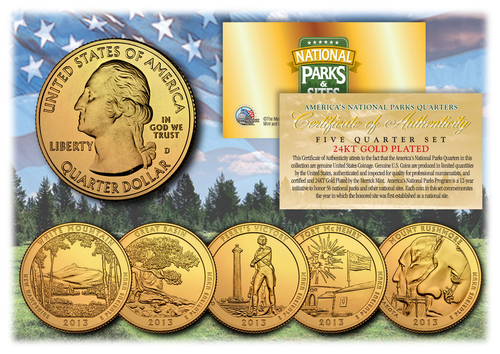 1999 US Statehood Quarters 24K GOLD PLATED ** 5-Coin Complete Set ** w//Capsules