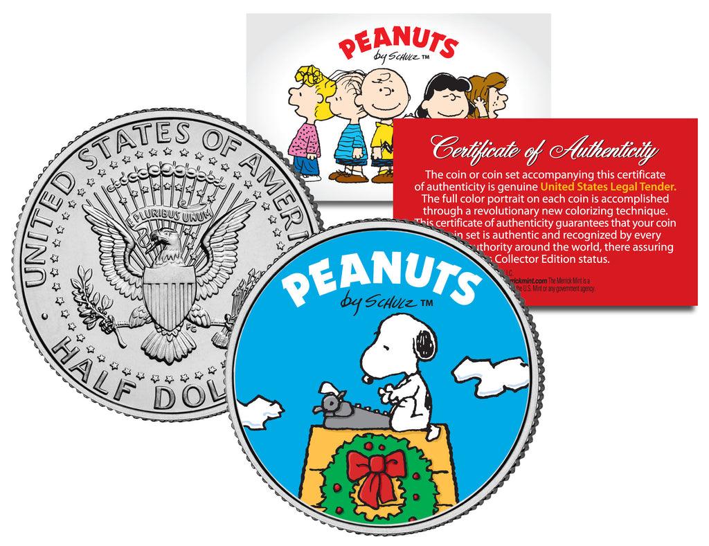 peanuts snoopy christmas wreath jfk kennedy half dollar us coin officially licensed - Snoopy Christmas Pictures