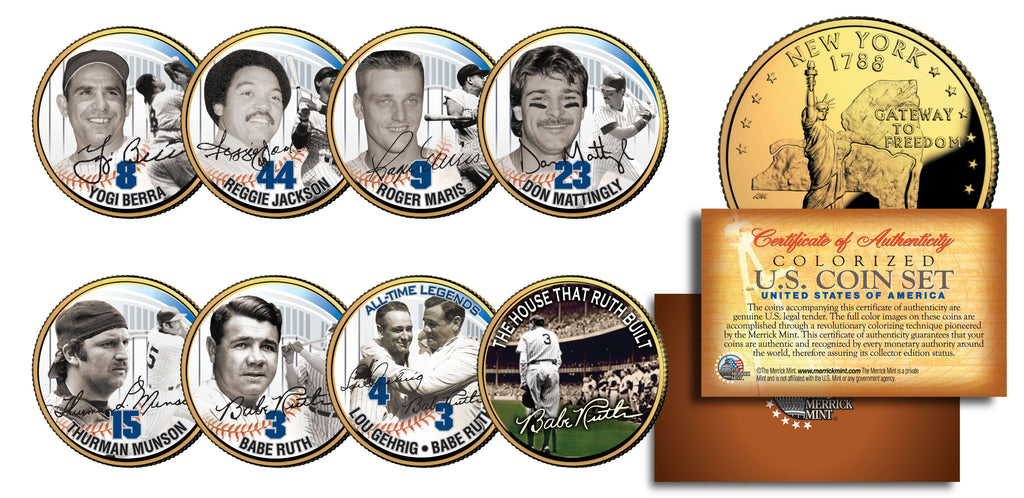 BABE RUTH NEW YORK *Yankees 24 Karat Gold 2-Coin Set *Officially Licensed *NEW
