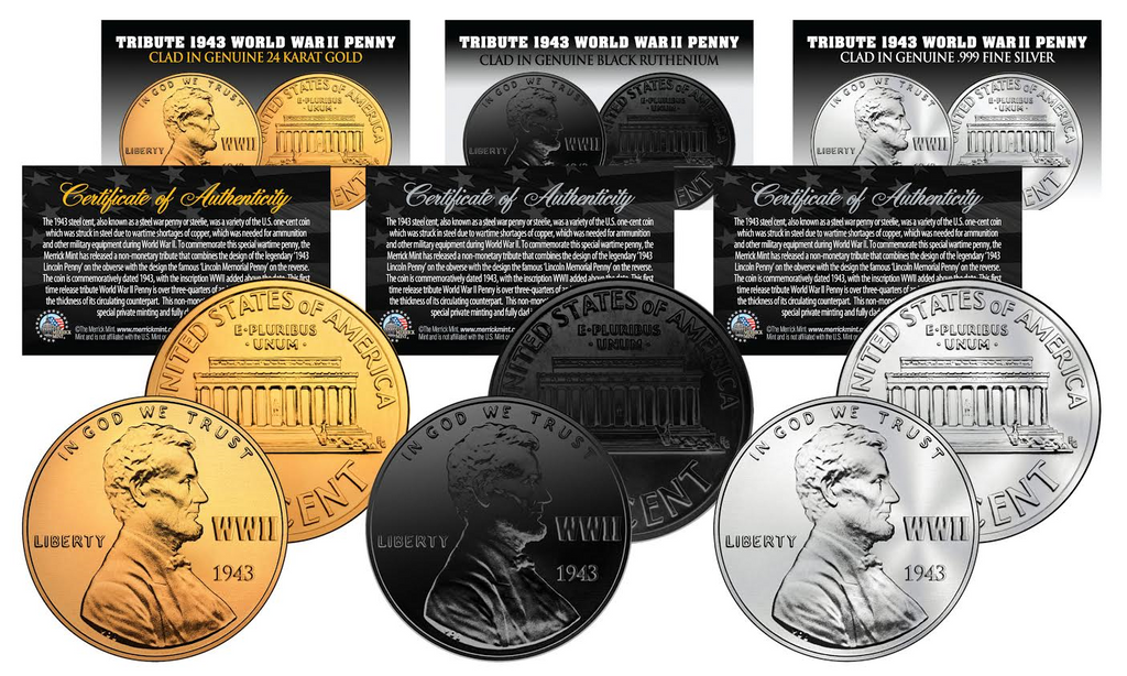 Tribute 1943 world war ii steelie penny coin get all 3 plated rare tribute 1943 world war ii steelie penny coin get all 3 plated rare metal versions publicscrutiny Images