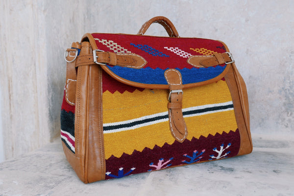 Moroccan carpet rug weekender bag