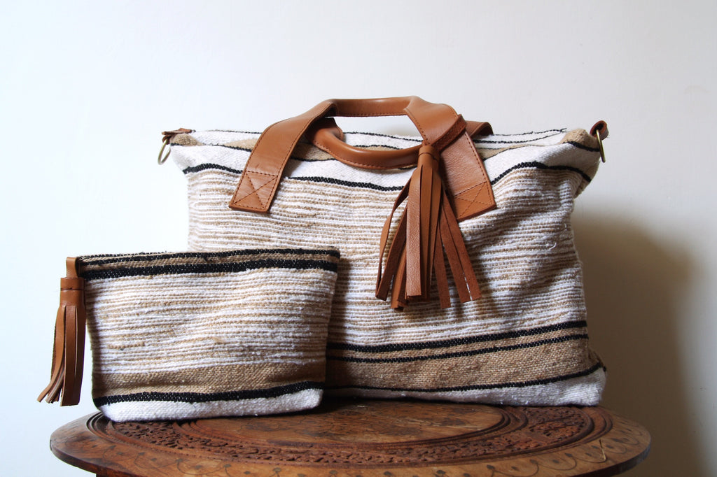 Moroccan blanket day bag, travel bag