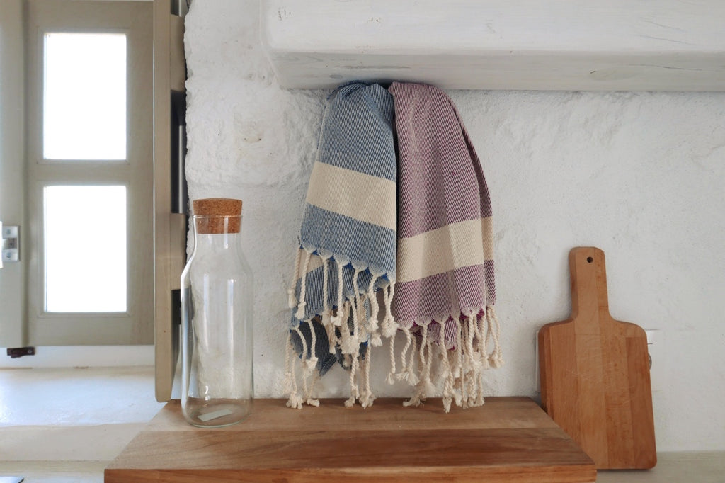Turkish cotton bath and kitchen hand towel, tea towel