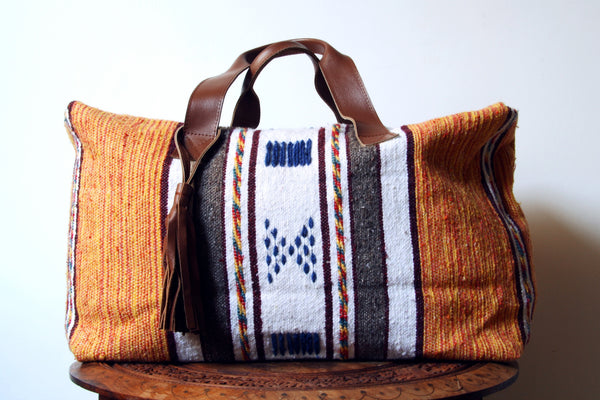 Moroccan blanket duffel bag, travel bag