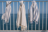 Turkish cotton and silk hamam towel, beach towel