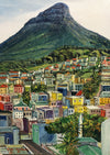 Oil on canvas painting of Bo Kaap Cape Town Cape Malay Quarter with Lion's Head Mountain behind.