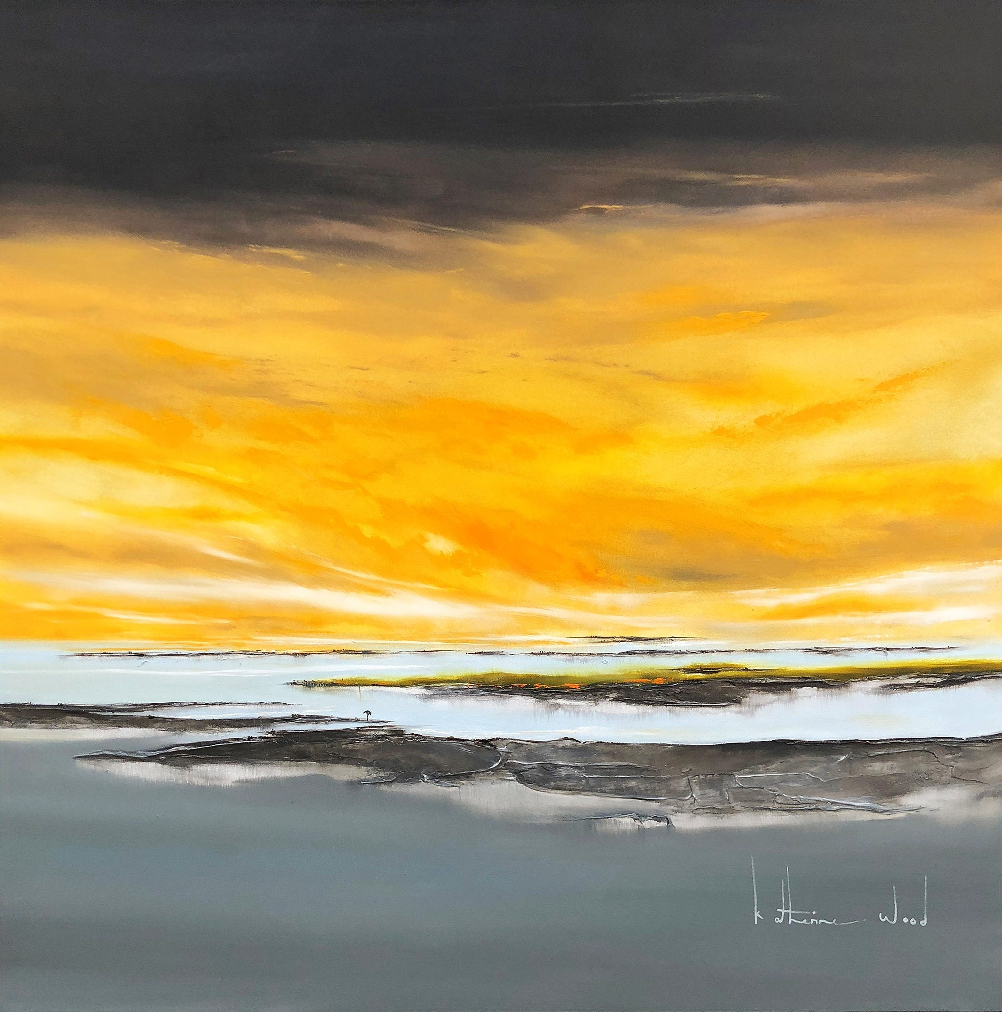 Golden Sky Abstract Art   Katherine Wood   South African Artists
