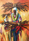 South African Original Art by Mauro Chiarla - Wood Carriers - Fine Art Portfolio