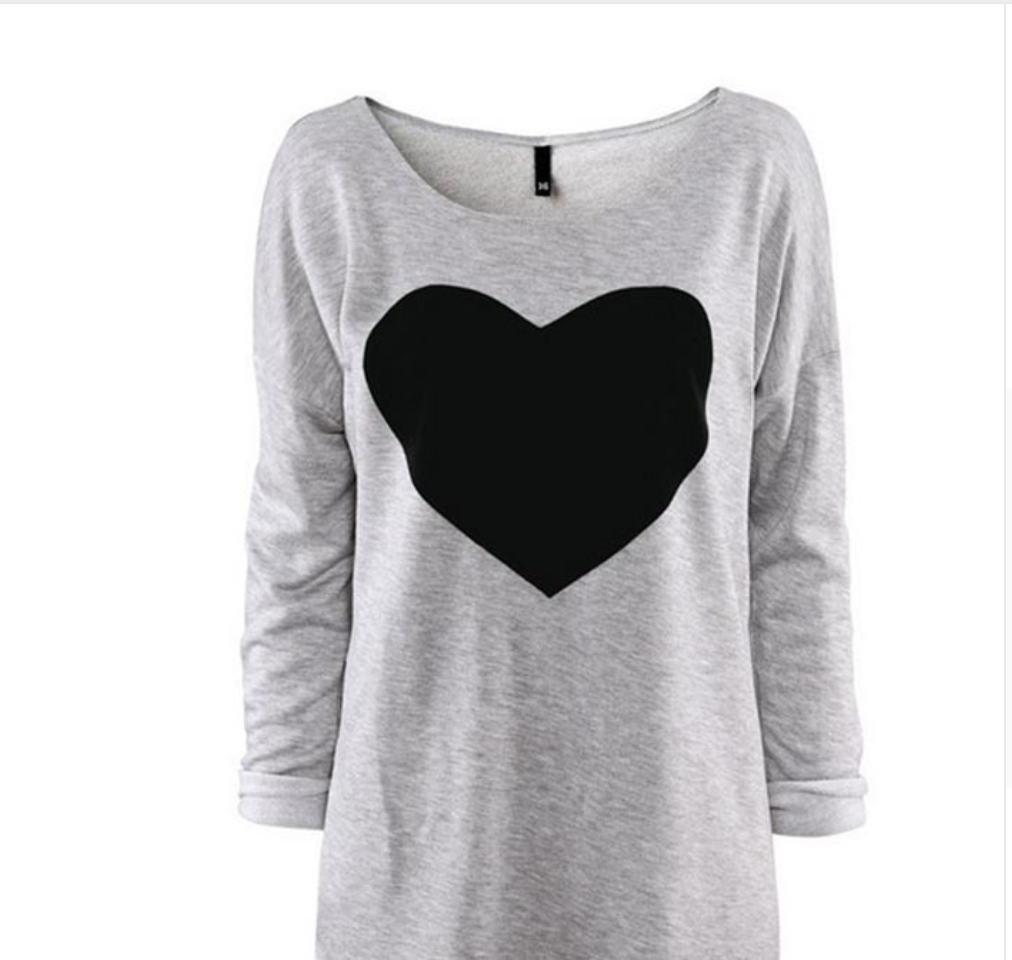 Black Heart Print T-Shirt - antianti