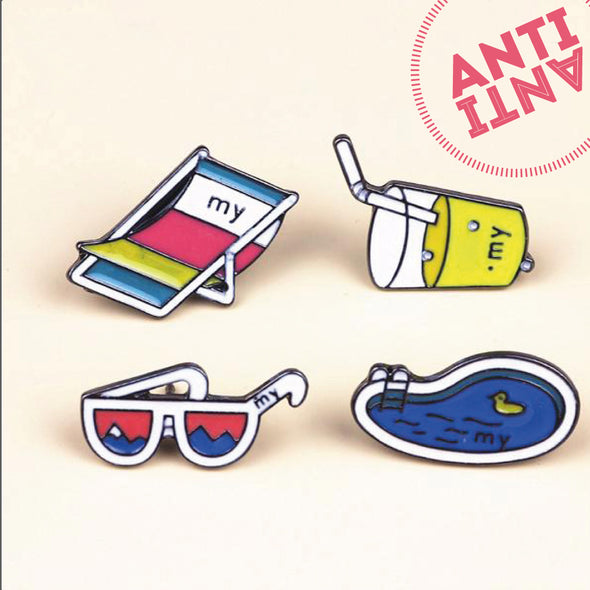 Cartoon Summer Drink Sunglasses Swimming Pool Beach chair Metal Brooch Pins - antianti
