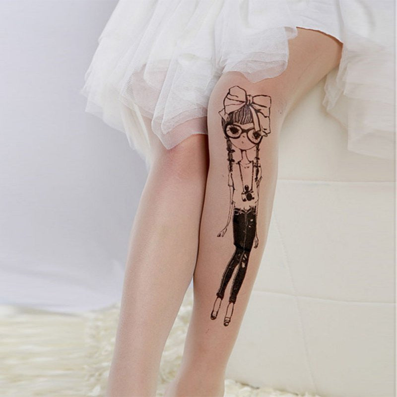 Tattoo Pattern Pantyhose Stockings - antianti
