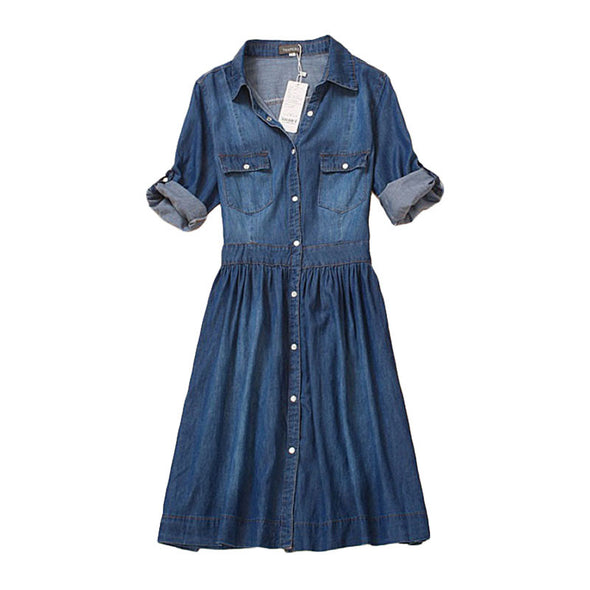Denim dress - slim cowgirl casual - antianti