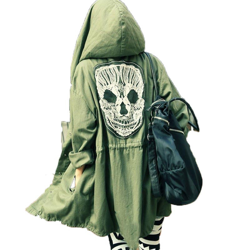 Green Skull Head Printed Hooded Trench Coat - antianti