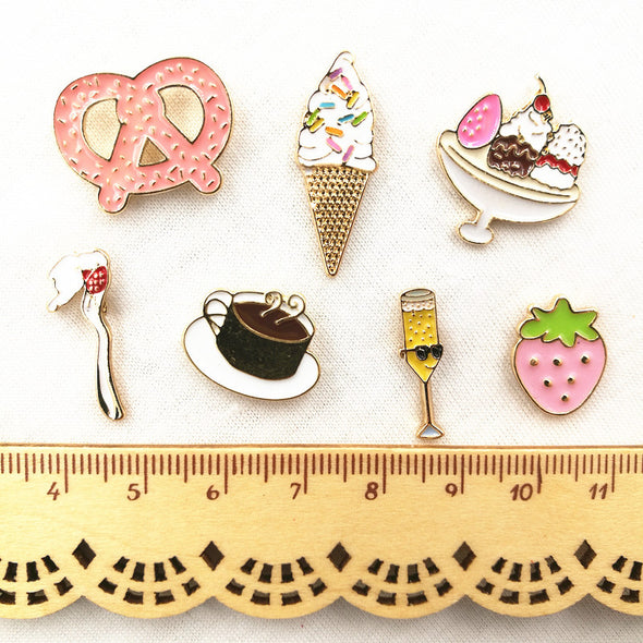 Brooch Pins - Heart, Ice Cream, Coffee, Spoon, - antianti