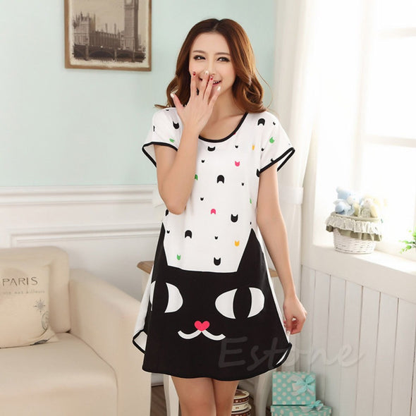 Cartoon Polka Dot Sleepwear - Short Sleeve - antianti