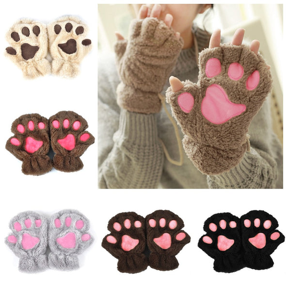 Cute Cat Paw Plush Mittens - Fingerless - antianti