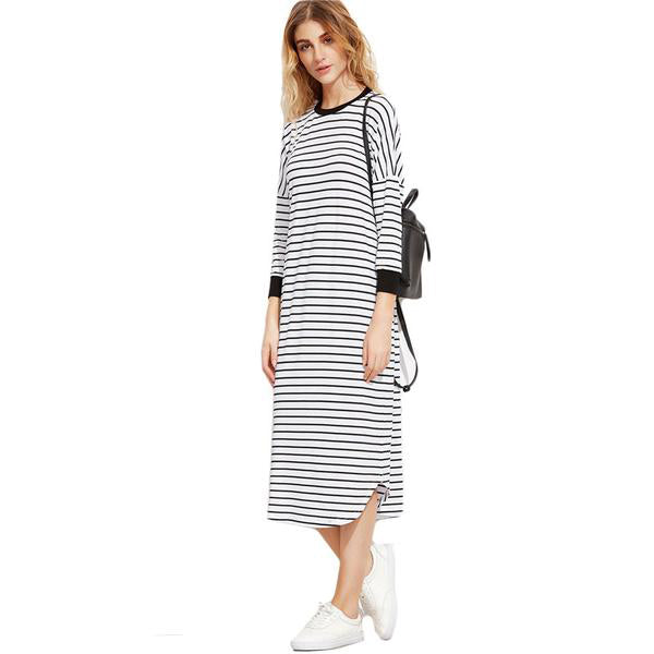 Black and White Striped Straight Tee Dress - antianti
