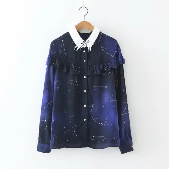 Space Star Chiffon Shirt - antianti