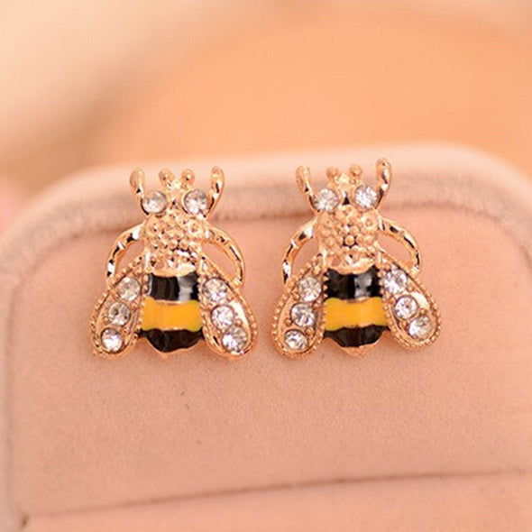 Rhinestone Bee Crystal Stud Earrings - antianti