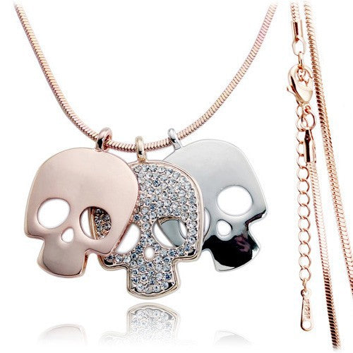 Rose Gold Crystal Long Skull Skeleton Necklace / Pendant - antianti