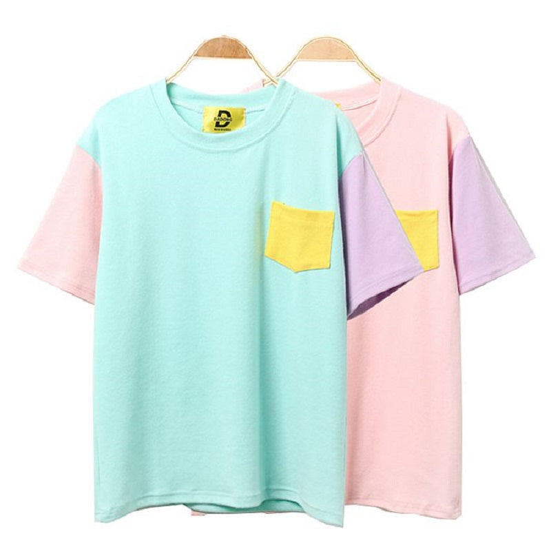 Harajuku Patchwork T Shirt Kawaii Cotton - antianti
