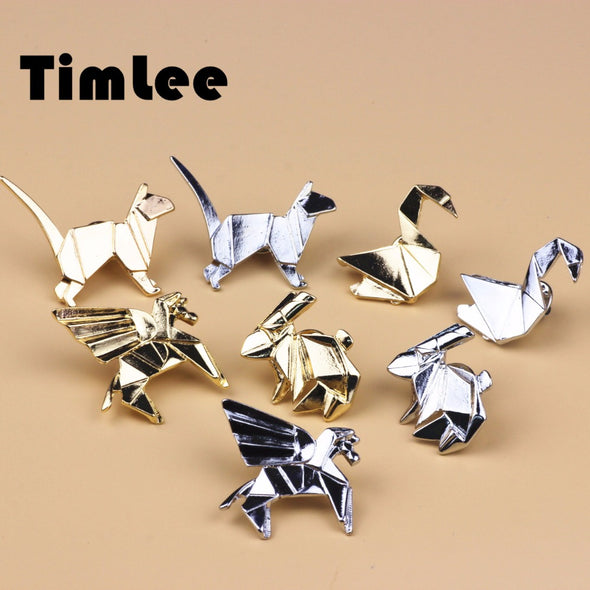 Solid Geometry Metal Cat Rabbit Horse Bird Brooch Pins - antianti