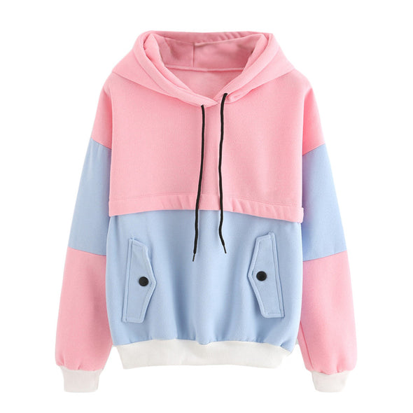 Drawstring Hoodie Pink and Blue - antianti