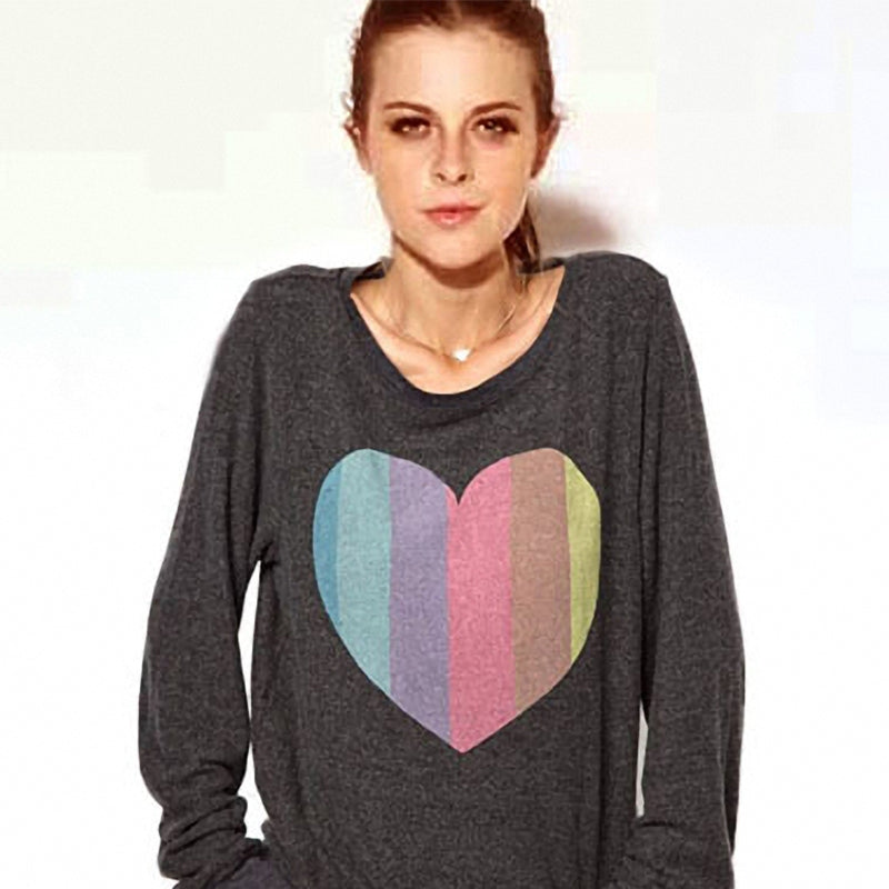 Rainbow Heart-Shaped Pullover - antianti