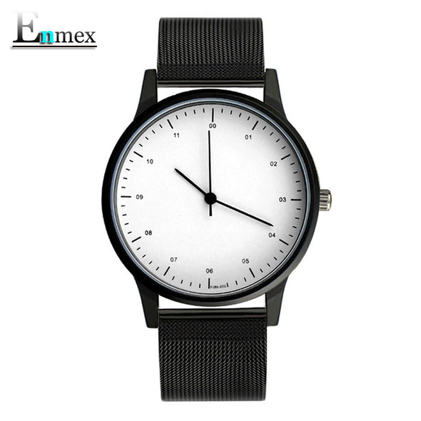 Minimal wristwatch Black and white face steel band - antianti