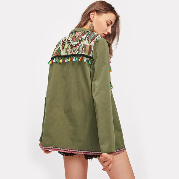Embroidered Yoke Tassel and Pom-Pom Trim Utility Jacket - antianti