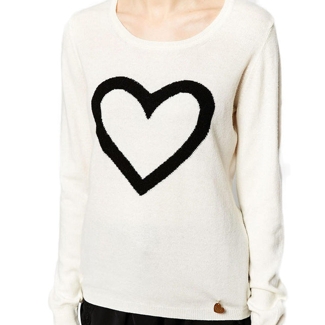 Solid Color Heart Print  Sweater - antianti