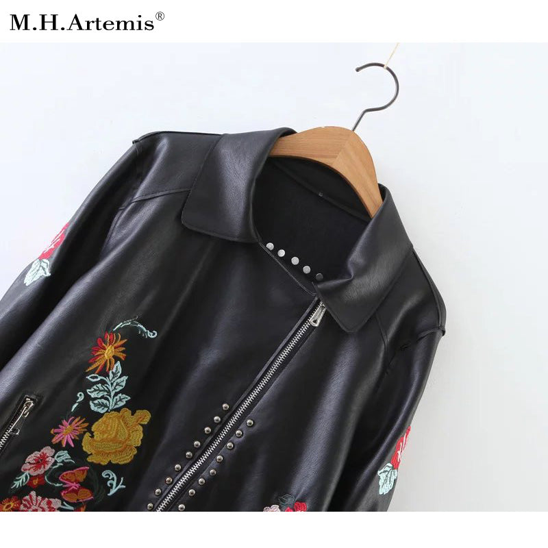 Embroidered PU jacket - antianti