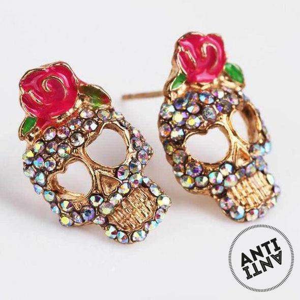 Rose Rhinestone Skeleton Skull Ear Studs - antianti