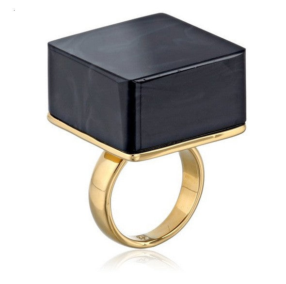 Black Square Acrylic Gold Color Ring - antianti