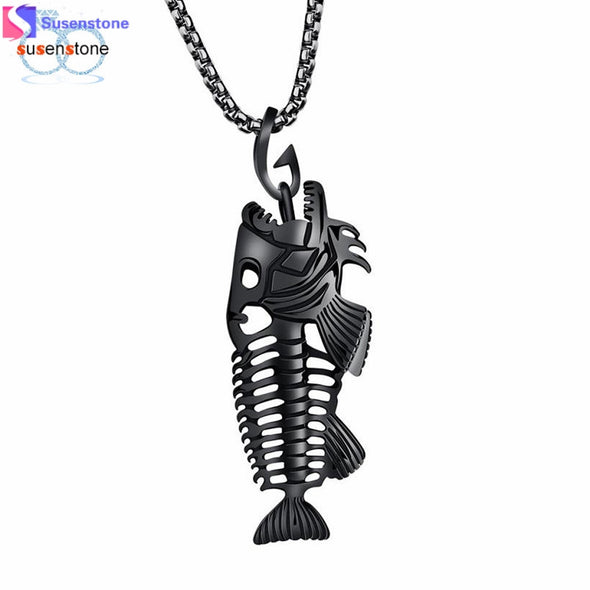 Fish Bone Skeleton Stainless Steel Pendant - antianti