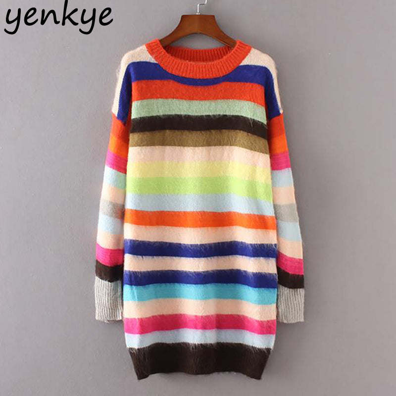 Rainbow Striped Sweater Long Sleeve Jumper - antianti