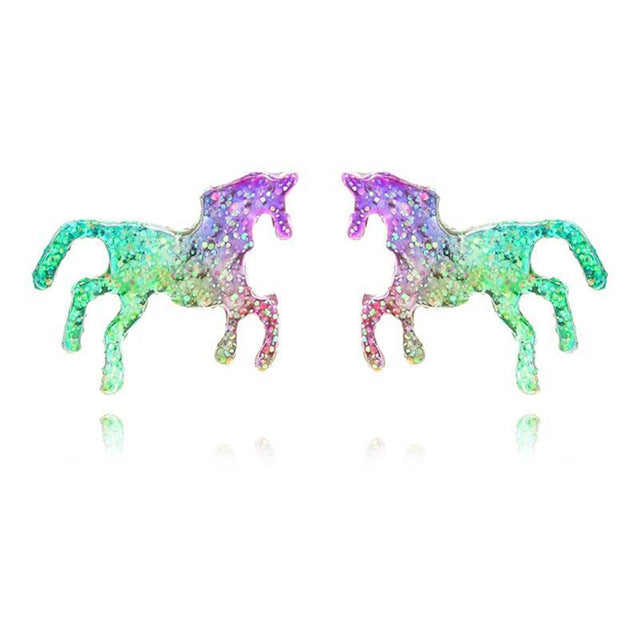 Glitter Enamel Unicorn Earrings