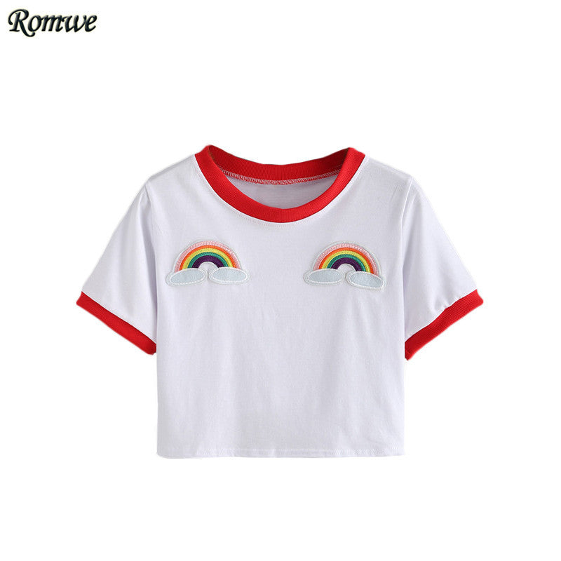 Rainbow Patch Crop Tshirt - antianti