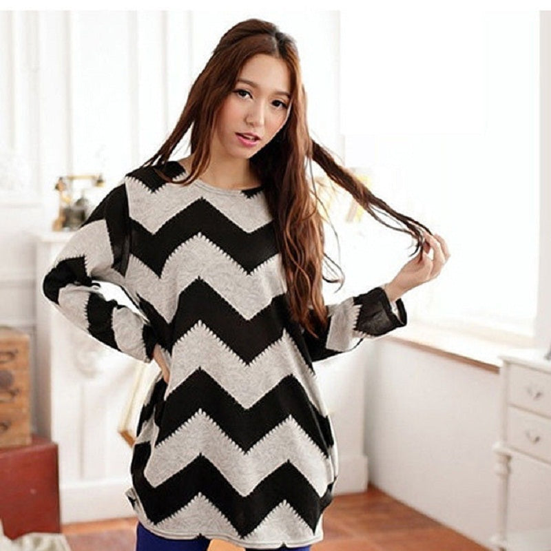 Women Stripes Crewneck Pullover - antianti
