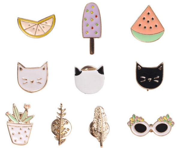 Badges / Brooches - Fruit, Cat, Sunglass, Leaf, Orange, Ice cream, Watermelon - antianti