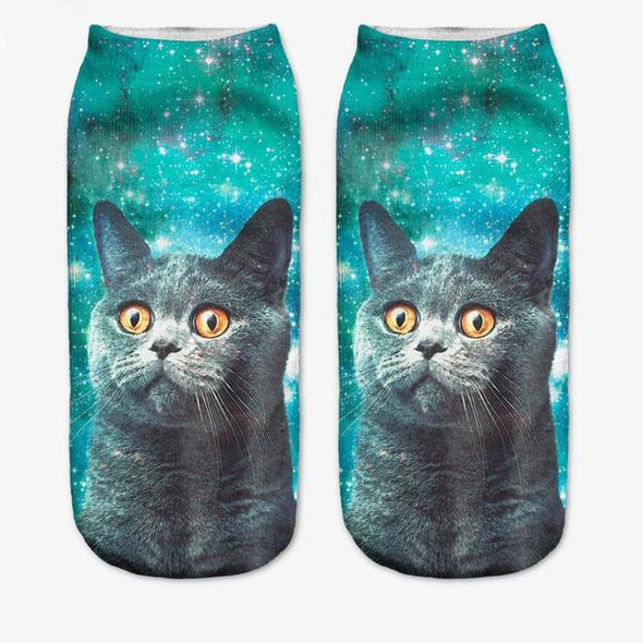 Crazy Cat Print Socks - antianti