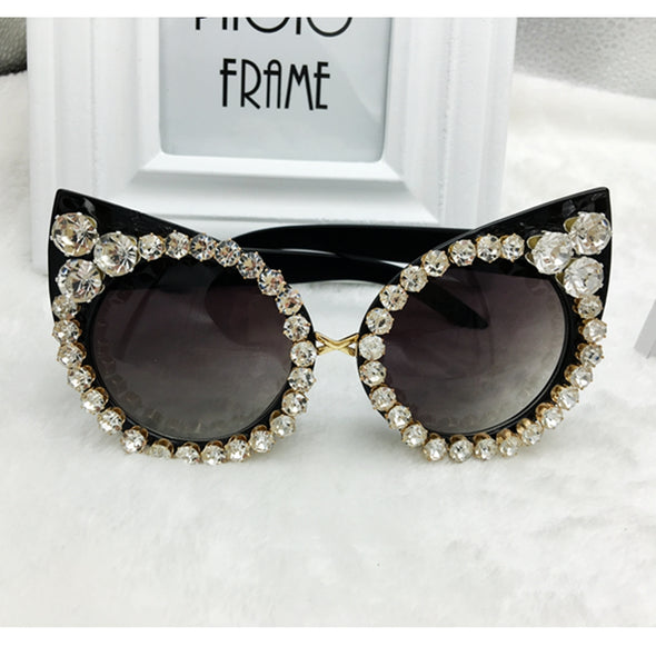 Rhinestone Cat Eyes Sunglasses Vintage - antianti
