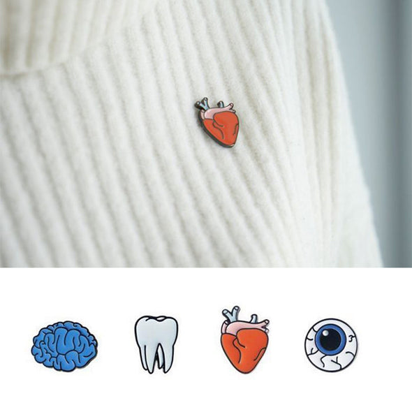 4 Styles Brooch - Tooth, Eye, Heart, Brain, - antianti