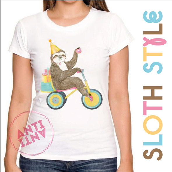Birthday Sloth women t-shirt - antianti