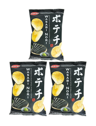 JAPANESE POTATO CHIPS WASABI NORI 100g Pack of 3 ポテチ わさびのり 100g 3個セット