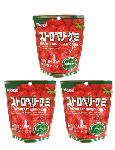 STRAWBERRY GUMMY CANDY 45g Pack of 3  ストロベリー グミキャンディー 3 個セット