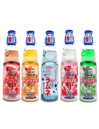 Japanese Ramune 200ml Set of 5 Flavours Original | Melon | Strawberry | Lychee | Orange